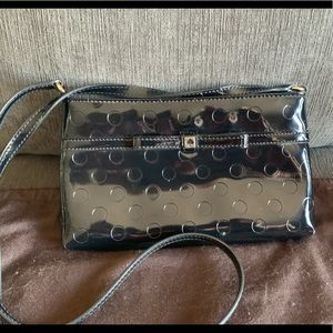 New KATE SPADE BLACK PATENT LEATHER CLUTCH
